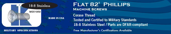 MS51959 82-deg Flat Phil Coarse SS Machine Screws Screw Stock Military Fasteners