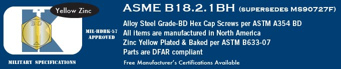 ASME B18.2.1 GrBD, Fine, Yellow Zinc Hex Cap Screws Stock Military Fasteners